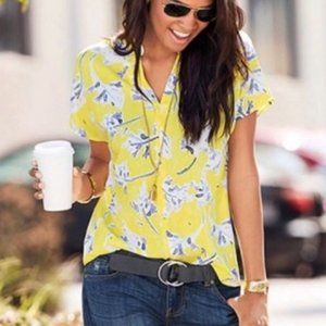 Cabi Blouse Top Medium Stevie Spring Yellow Floral